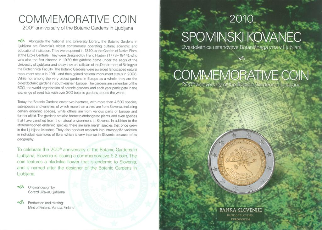 COMMEMORATIVE COIN, 200th anniversary, Botanic Gardens in Ljubljana