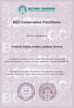bgci conservation practioner accreditation university botanic gardens Ljubljana